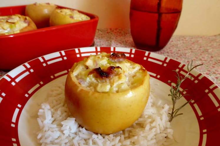 Pommes farcies chèvre poireaux et pancetta