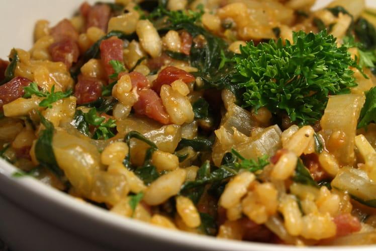 Risotto blettes et bacon sauce oignon doux et gorgonzola