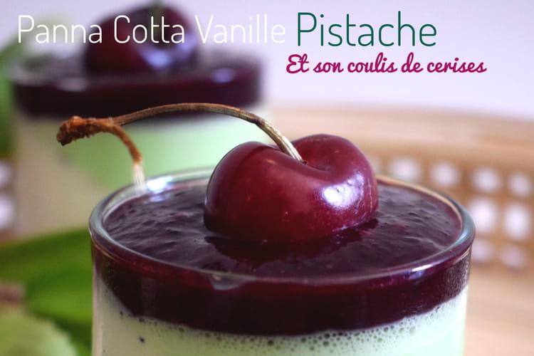 Panna cotta vanille pistache coulis de cerises