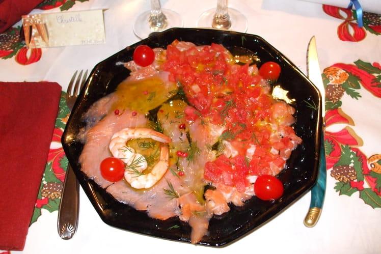 Duo de saumon en carpaccio