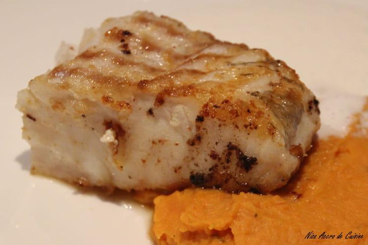 Dos de Skrei à la mousseline de patate douce et écume de gingembre et vanille