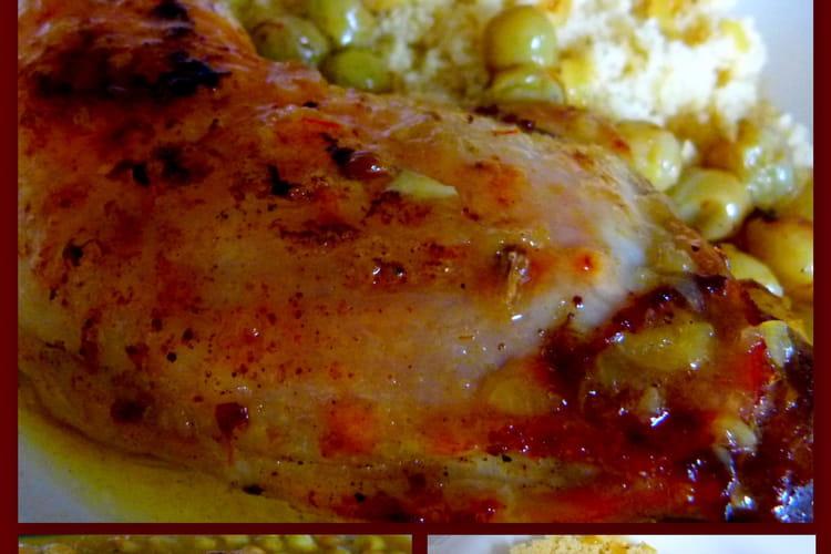 Cuisses de poulet aux épices et raisins blancs