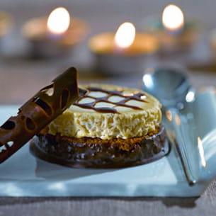 chabichou sur lit de pain d'épices au chocolat