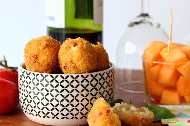 Arancini tomates séchées et mozzarella (boulettes de riz)