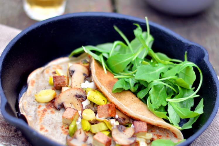Crêpes aux poireaux et champignons