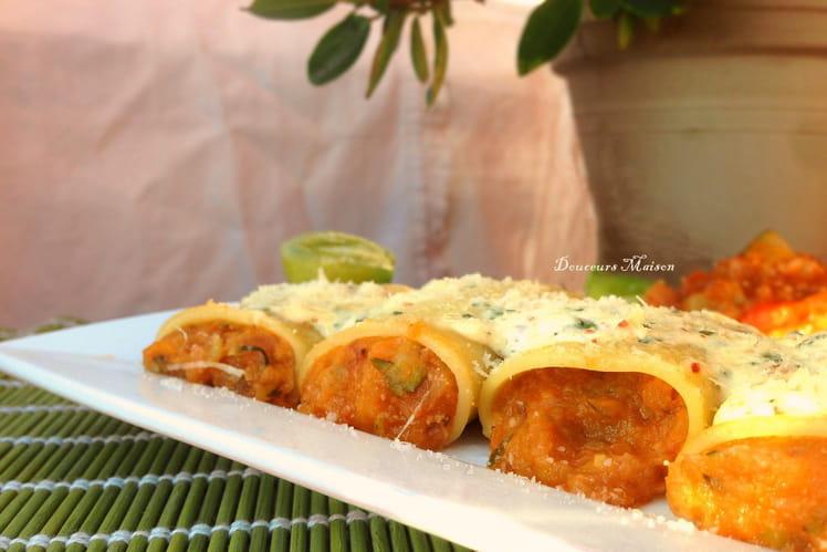 Paccheri ou Petits cannelloni à la ratatouille et crème de Parmesan