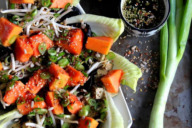 Salade de tofu et papaye aux petites graines