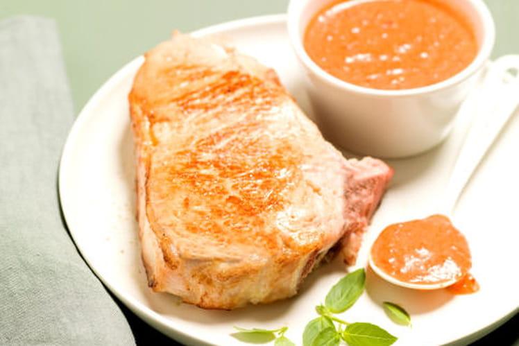Côte de veau con crema di peperoni