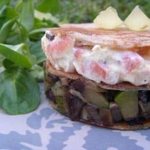 mille-feuille de sarrasin et tartare de crevettes