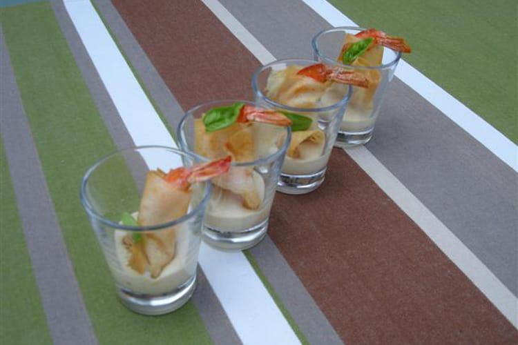 Petits nems de crevettes et sauce soja au poireau