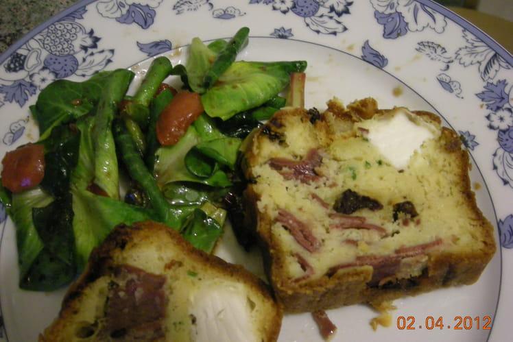 Cake magret canard, fromage de chèvre