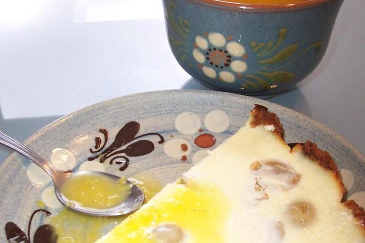Cheesecake aux raisins, sauce à l'orange