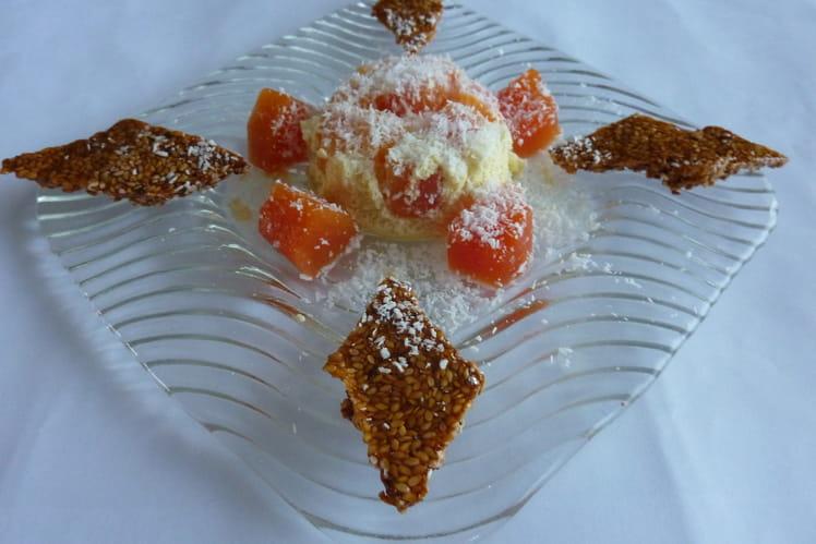 Crème de coco à la papaye et nougatines au sésame