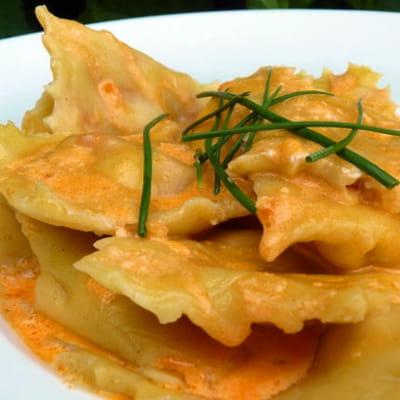 raviolis au chorizo, sauce chorizo