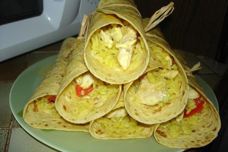 Poulet au curry et risotto au safran en wrap