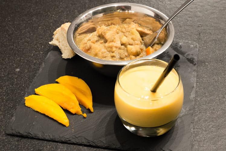 Dhal de poulet aux légumes et son Lassi à la mangue
