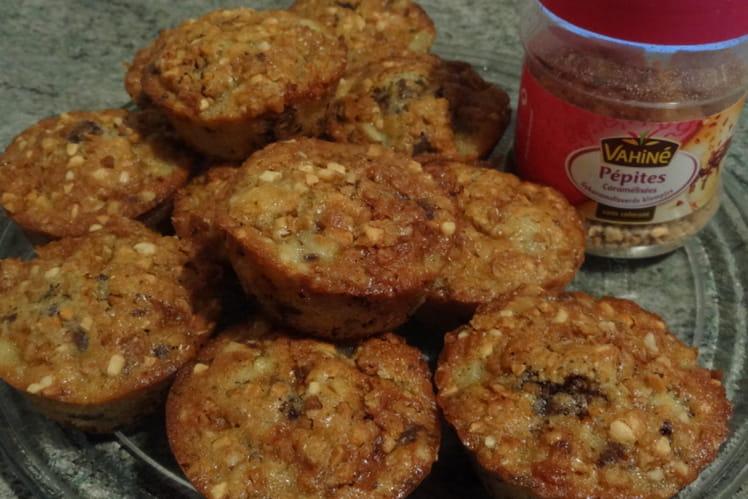 Muffins poires, chocolat et pépites caramélisées