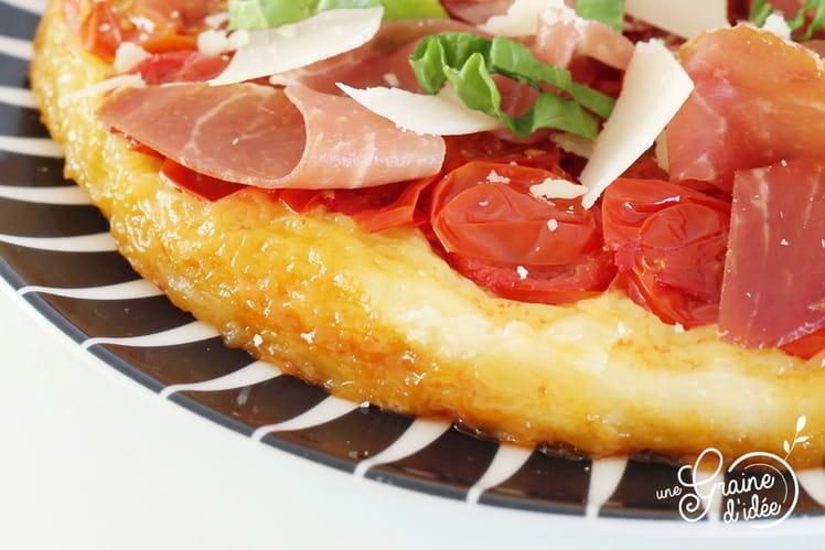Tatin de Tomates Cerise au Miel, Jambon de Bayonne et Parmesan