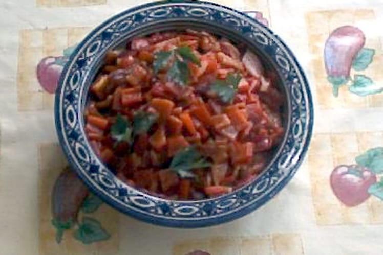 Salade de poivrons grillés, ail et jus de citron