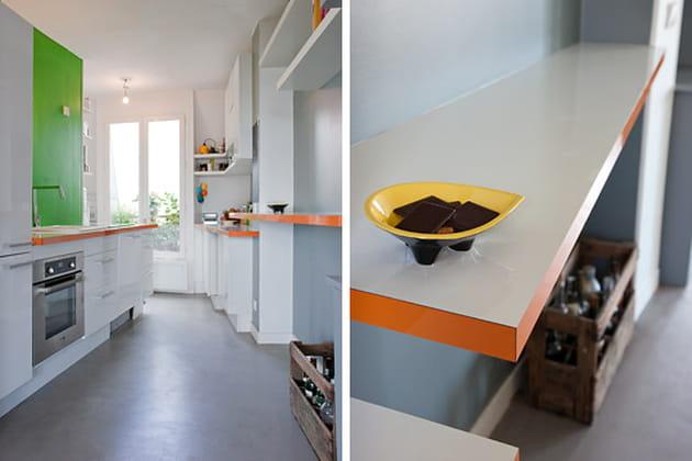 cuisine orange et vert pomme. Black Bedroom Furniture Sets. Home Design Ideas