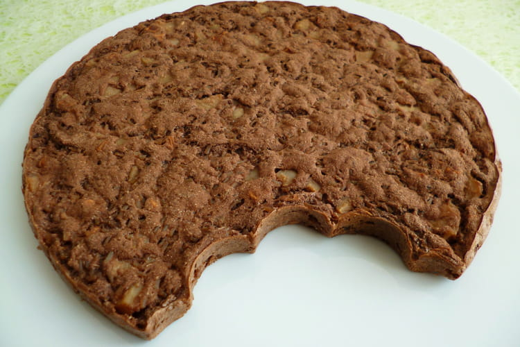 Gâteau hyperprotéiné poire pomme cacao coco avec perles de konjac et psyllium