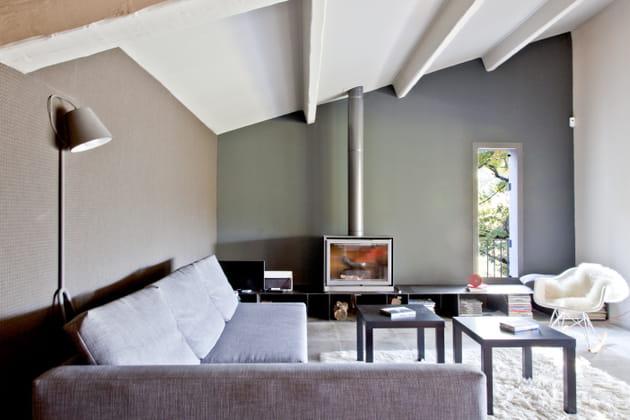 Un salon gris, des murs au mobilier