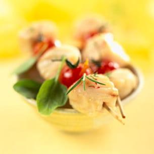 brochettes de colin rôti aux blettes, jus de coque