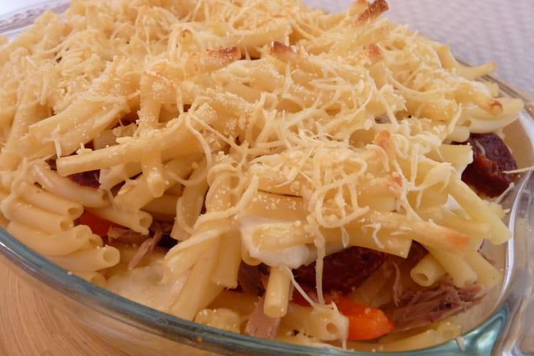 Gratin de pâtes au chorizo et au thon