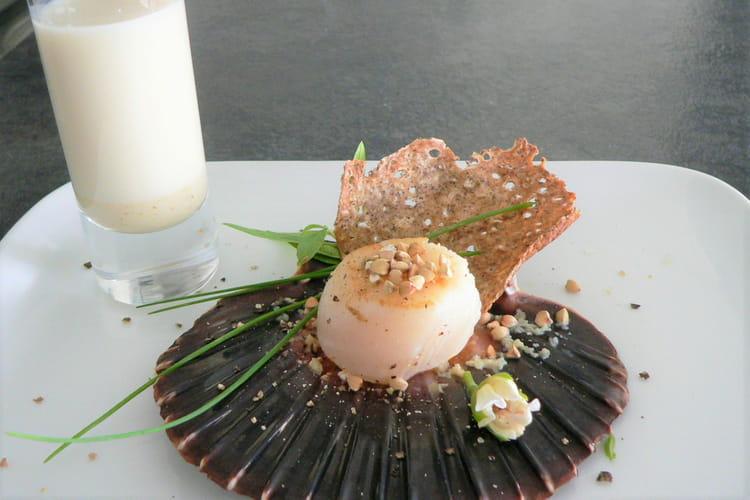 Noix de st Jacques et sa galette de sarrasin à la crème