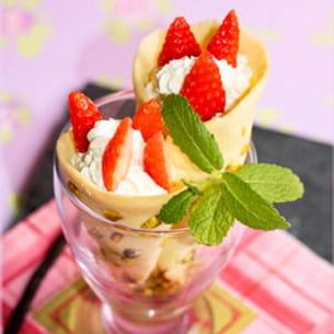 cornets pistache fraises chantilly au mascarpone
