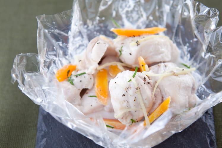 Papillote de cuisse de lapin, coco, gingembre et coriandre fraîche
