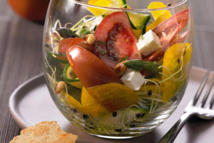 Verrines fraîcheur aux tomates, courgettes et graines germées