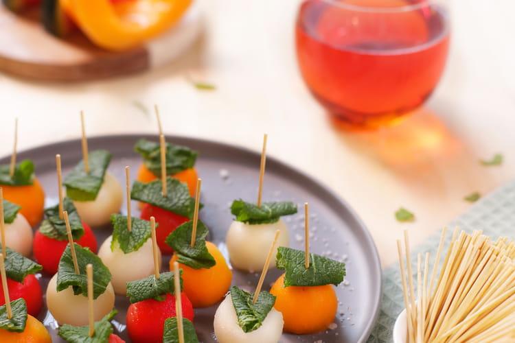 Brochettes de pastèque et melon