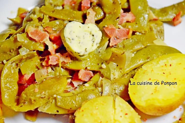 Haricots verts mijotés aux oignons et lardons