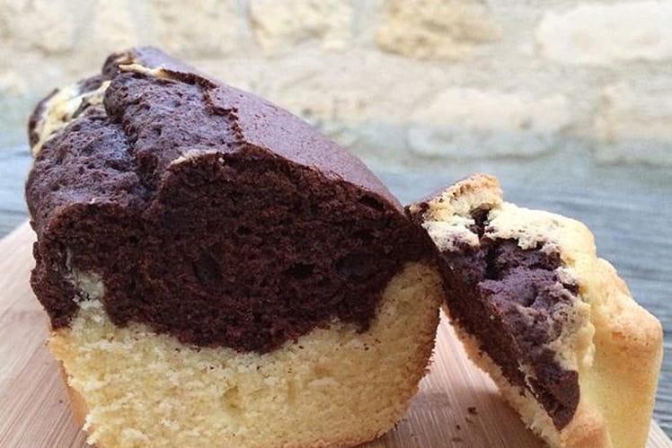 Cake marbré vanille, chocolat et café