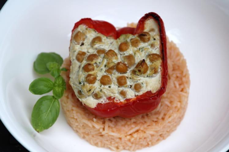 Poivrons farcis au fromage de chèvre et riz à la tomate