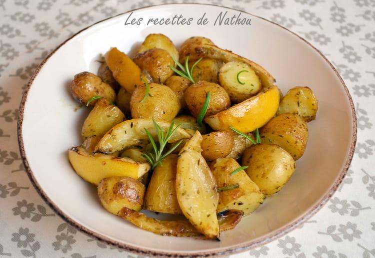 recette de pommes de terre au four citron et romarin la recette facile. Black Bedroom Furniture Sets. Home Design Ideas