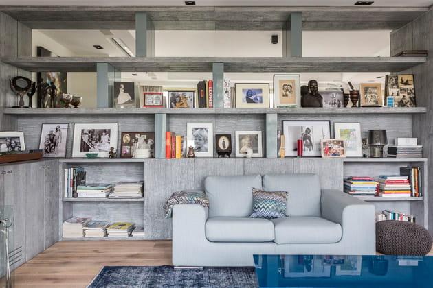 une biblioth que sur mesure. Black Bedroom Furniture Sets. Home Design Ideas