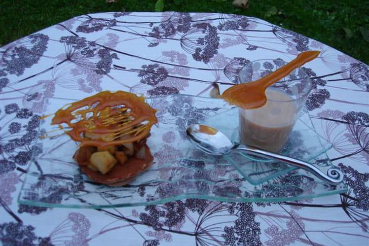 Petits pancakes à la farine de châtaigne, compotée pomme et poire façon mendiants, sauce à la confiture de lait