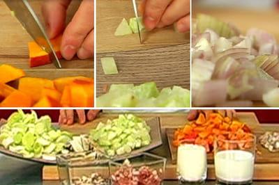 les légumes sont détaillés en petits dés.
