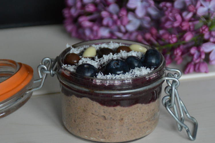 Chia pudding chocolat, fruits rouges