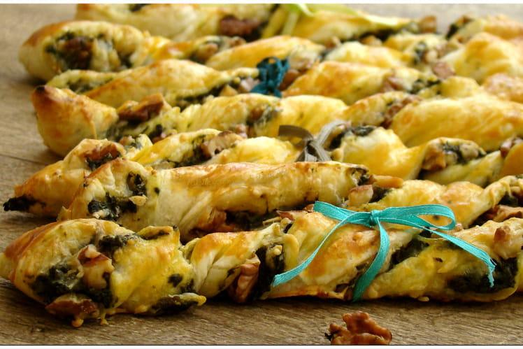 Torsades épinards, fromages et noix