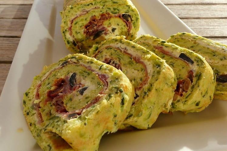 Gâteau salé roulé de courgettes au jambon cru, saveurs du Sud