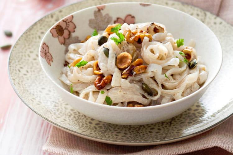 Kishimen, crème de châtaigne, noix, noisette, graines de courge