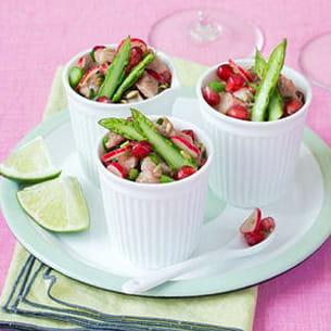 tartare de veau au citron vert, asperges vertes, radis roses, graines de fenouil