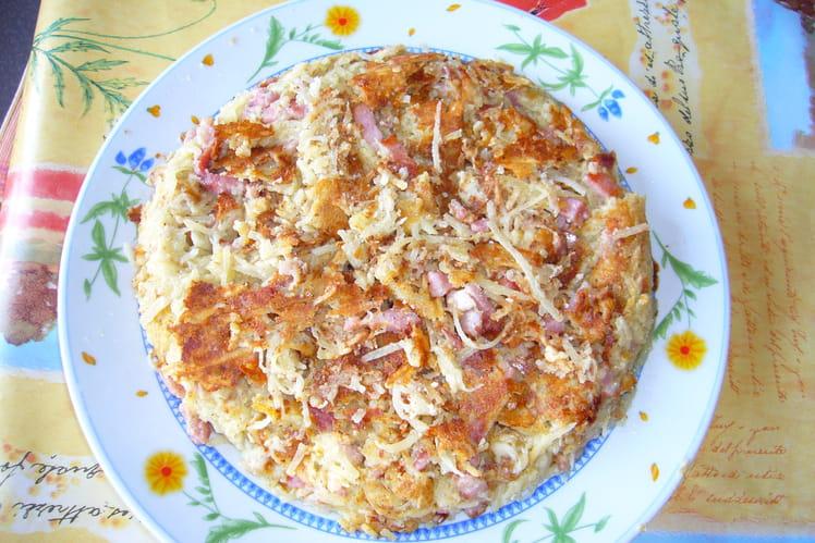 Crêpes de pommes de terre, aux lardons et fromage