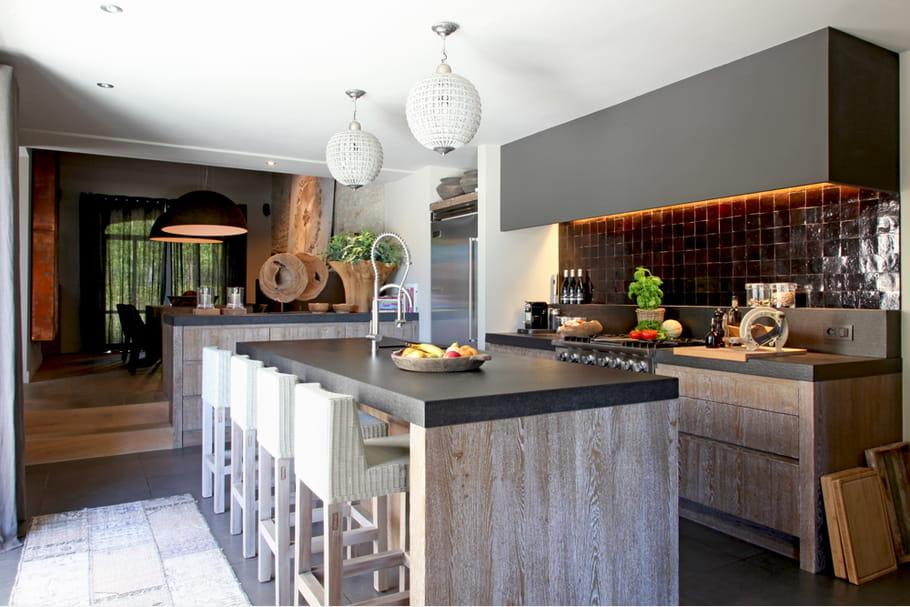 enfilade cuisine esprit chic et nature dans une maison de campagne journal des femmes. Black Bedroom Furniture Sets. Home Design Ideas