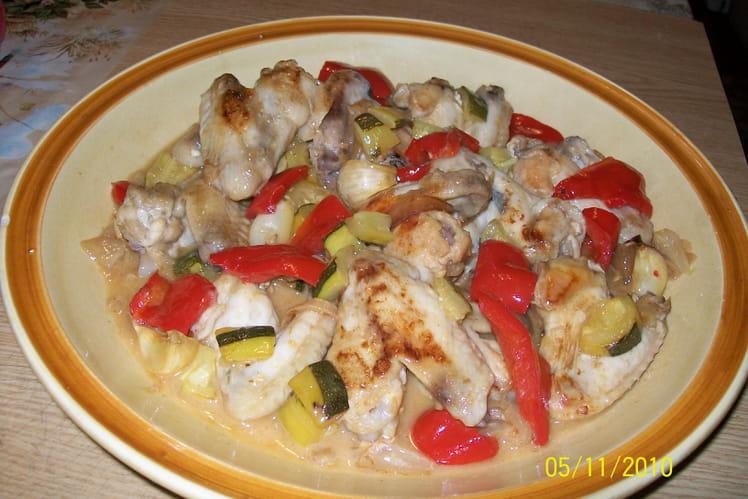 Ailes de poulet aux légumes