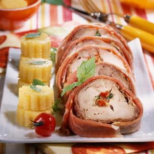 filet mignon au jambon de parme et légumes croquants