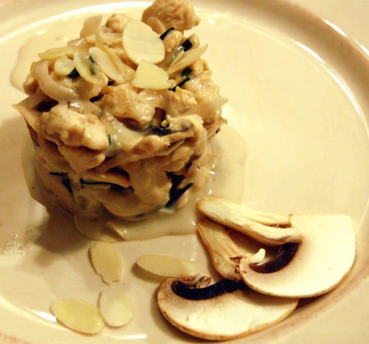Recette de Timbale de poulet aux champignons et aux amandes